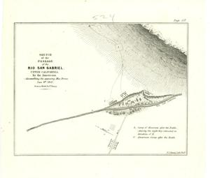 "Primary view of object titled '""Sketch of the Passage of the Rio San Gabriel, Upper California, by the Americans, --discomfiting the  opposing Mex:Forces, Jan: 8th, 1847.  from a sketch by Lt. Emory.""'."