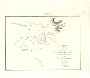 "Primary view of object titled '""Sketch of the Battle of Los Angeles, Upper California, fought between the Americans and Mexicans Jany. 9th, 1847.  from a sketch of Emory""'."