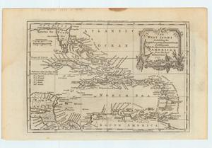 Primary view of object titled 'The West Indies exhibiting the English French Spanish  Dutch & Danish settlements with the adjacent parts of North & South America from the best authorities.  1777'.