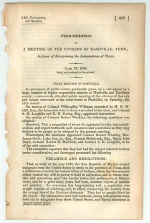 "Primary view of object titled '""Proceedings of a Meeting of the Citizens of Nashville, Tenn., in favor of Recognizing the Independence of Texas""'."