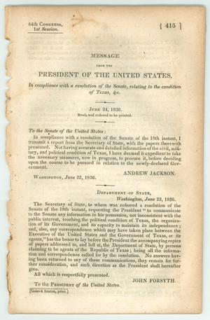 "Primary view of object titled '""Message from the President of the United States, In compliance with a resolution of the Senate, relating to the condition of Texas, &c.""'."