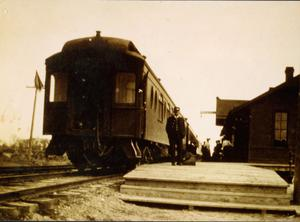Primary view of object titled 'Train at the Irving Depot'.