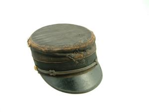 Primary view of object titled 'Pillbox style military hat'.