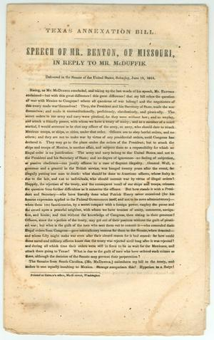 "Primary view of object titled '""Speech of Mr. Benton, of Missouri, in Reply to Mr. McDuffie.""'."