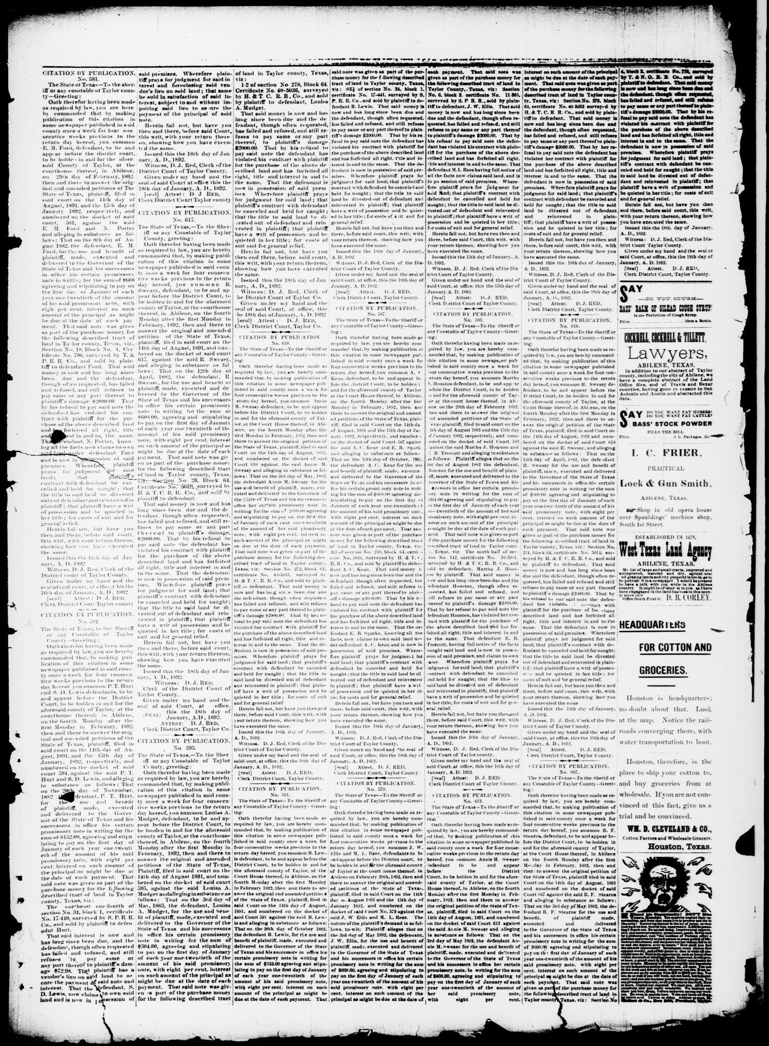 The Taylor County News. (Abilene, Tex.), Vol. 7, No. 50, Ed. 1 Friday, February 5, 1892                                                                                                      [Sequence #]: 5 of 10