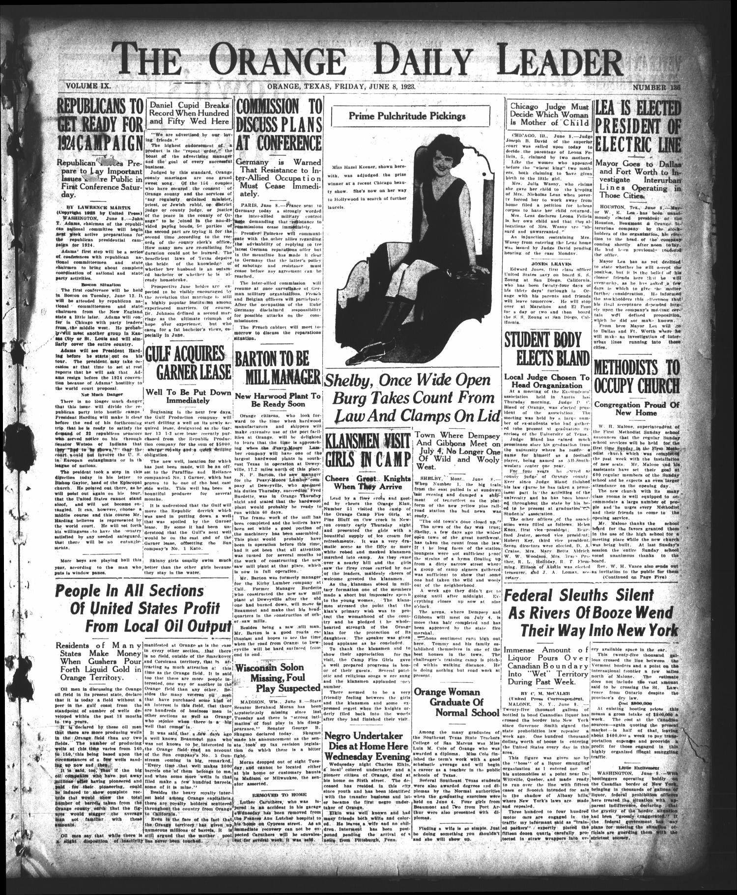 The Orange Daily Leader (Orange, Tex.), Vol. 9, No. 136, Ed. 1 Friday, June 8, 1923                                                                                                      [Sequence #]: 1 of 8