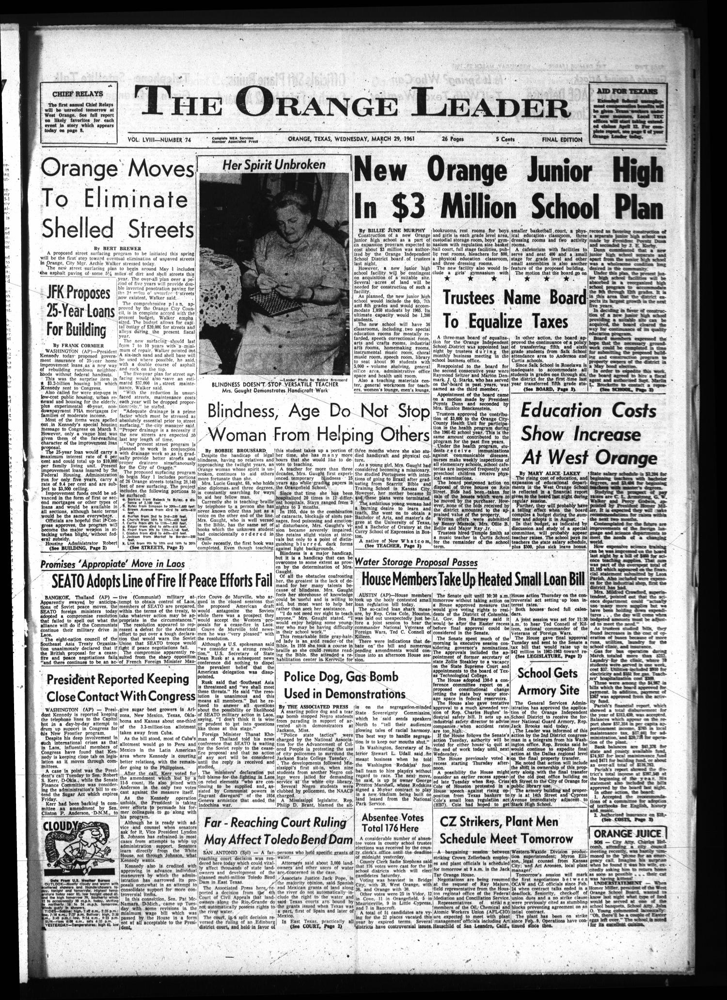 The Orange Leader (Orange, Tex.), Vol. 58, No. 74, Ed. 1 Wednesday, March 29, 1961                                                                                                      [Sequence #]: 1 of 26