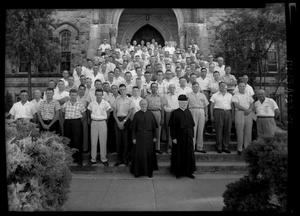 Primary view of object titled '[Group of Men at St. Edward's University Retreat]'.