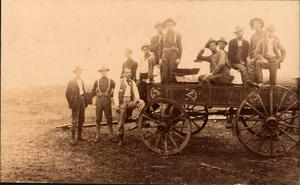 Primary view of object titled 'Railroad Survey Crew Poses on a Wagon, c. 1902'.