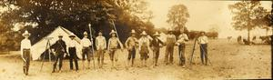 Primary view of Railroad Survey Crew Poses for Photo in Camp, c. 1902