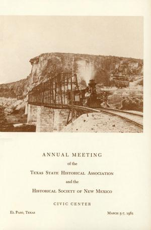 Primary view of object titled 'Texas State Historical Association Eighty-Fifth Annual Meeting, 1981'.