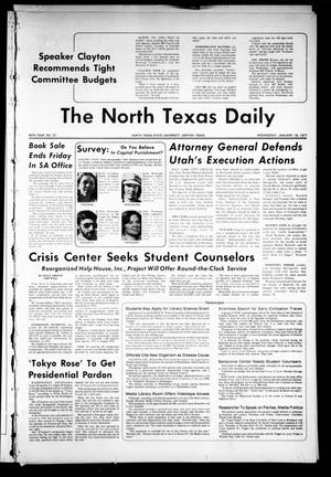 Primary view of The North Texas Daily (Denton, Tex.), Vol. 60, No. 57, Ed. 1 Wednesday, January 19, 1977