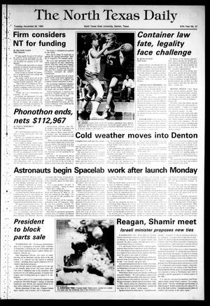 Primary view of The North Texas Daily (Denton, Tex.), Vol. 67, No. 51, Ed. 1 Tuesday, November 29, 1983