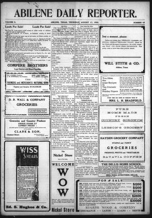 Primary view of Abilene Daily Reporter. (Abilene, Tex.), Vol. 10, No. 43, Ed. 1 Thursday, August 17, 1905
