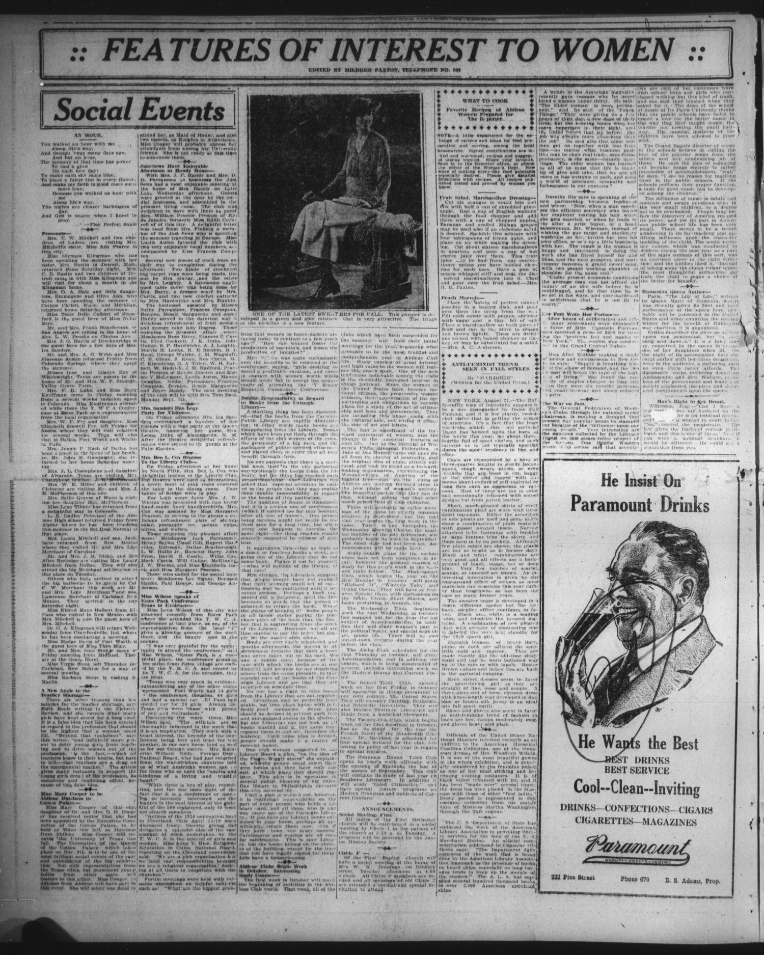 953771daf The Abilene Daily Reporter (Abilene, Tex.), Vol. 33, No. 228, Ed. 1 Sunday,  August 29, 1920 - Page 8 of 20 - The Portal to Texas History