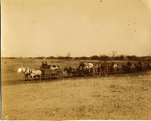 Primary view of object titled 'Railroad Survey Crew's Wagon Train, c. 1902'.