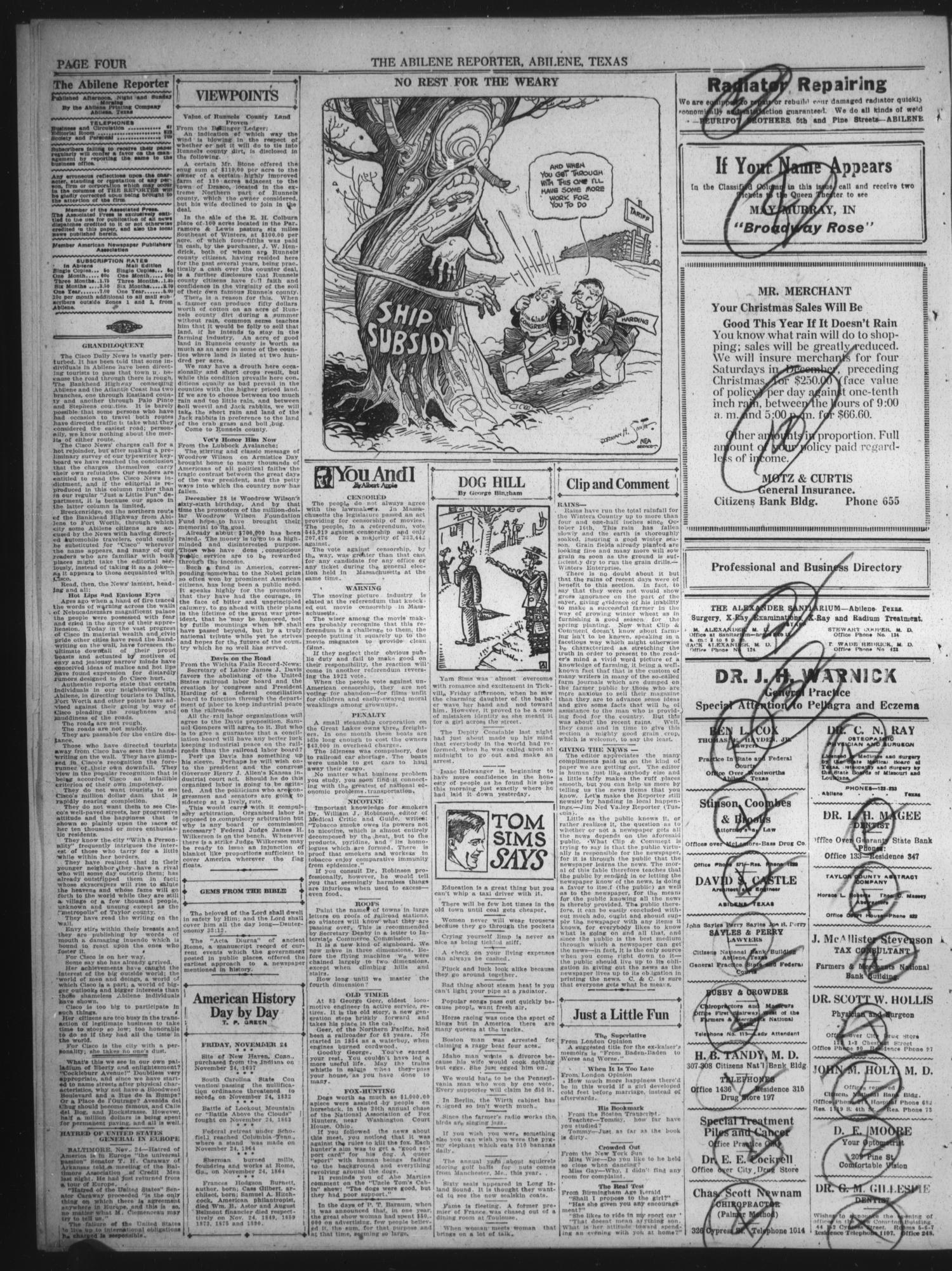 The Abilene Daily Reporter (Abilene, Tex.), Vol. 24, No. 166, Ed. 1 ...