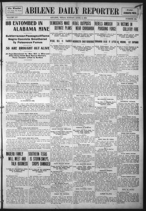 Primary view of object titled 'Abilene Daily Reporter (Abilene, Tex.), Vol. 15, No. 184, Ed. 1 Sunday, April 9, 1911'.