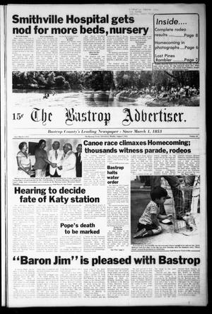 Primary view of object titled 'The Bastrop Advertiser (Bastrop, Tex.), Vol. [125], No. 46, Ed. 1 Monday, August 7, 1978'.
