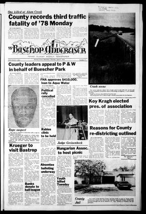 Primary view of object titled 'Bastrop Advertiser (Bastrop, Tex.), Vol. [125], No. 17, Ed. 1 Thursday, April 27, 1978'.