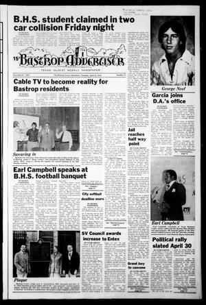 Primary view of object titled 'Bastrop Advertiser (Bastrop, Tex.), Vol. [125], No. 13, Ed. 1 Thursday, April 13, 1978'.