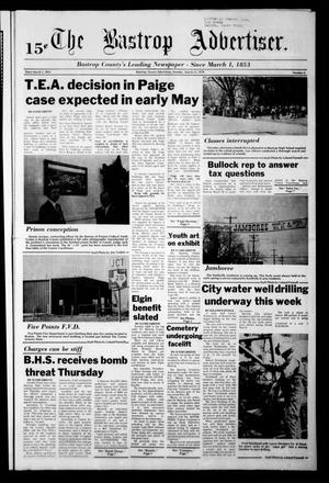 Primary view of object titled 'The Bastrop Advertiser (Bastrop, Tex.), Vol. [125], No. 4, Ed. 1 Monday, March 13, 1978'.