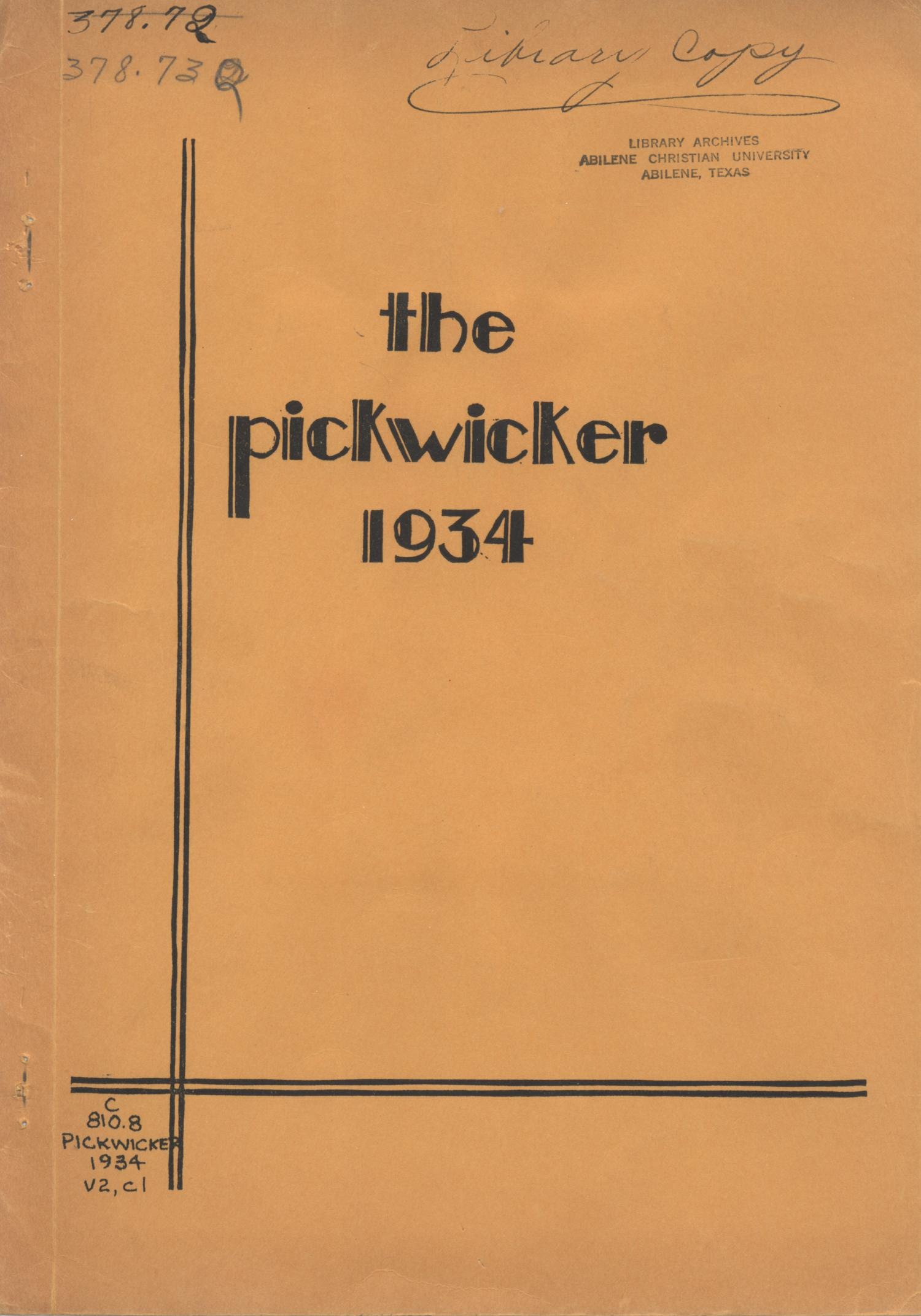 The Pickwicker, Volume 2, Number 1, April 1934                                                                                                      Front Cover