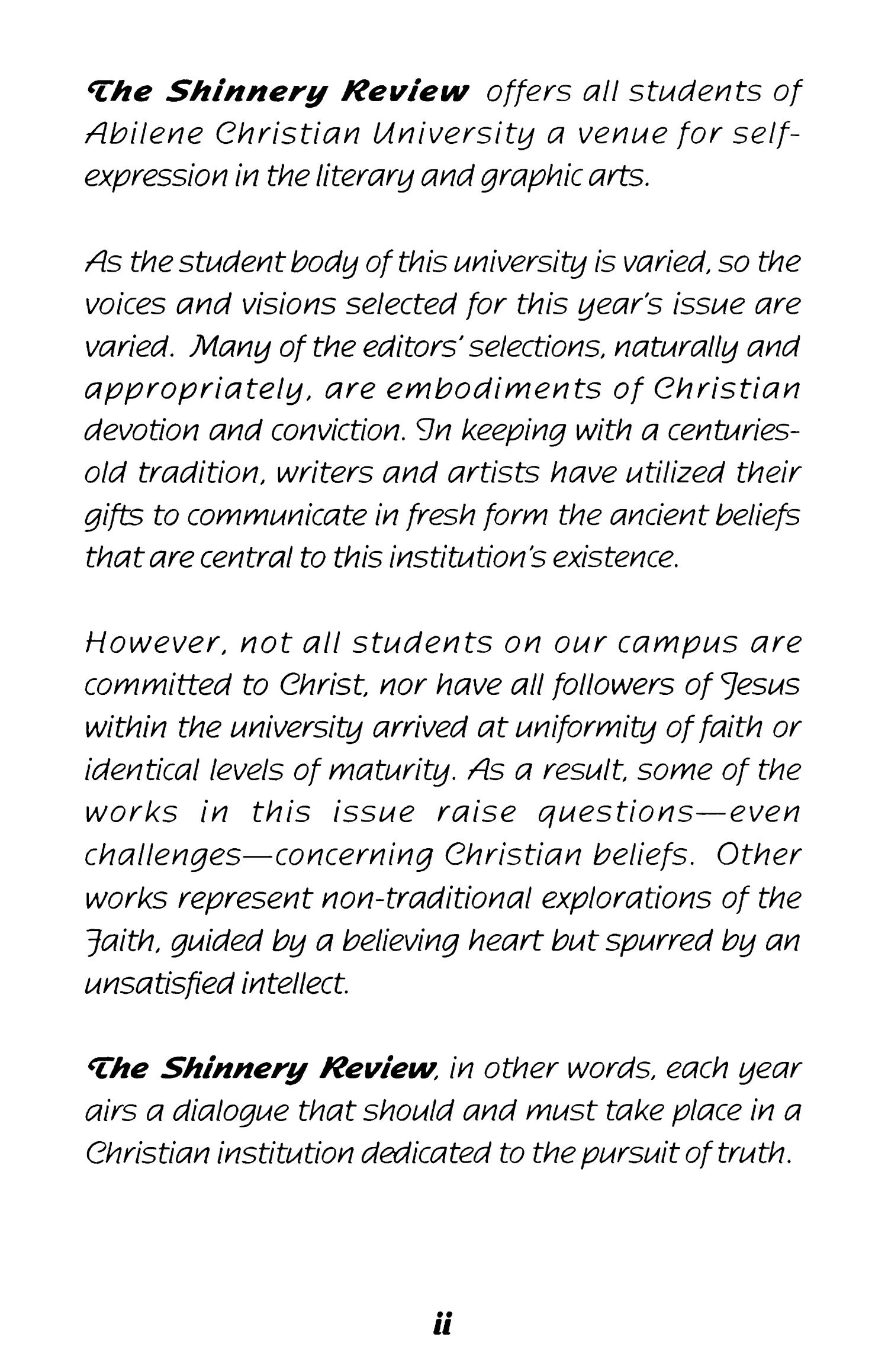 The Shinnery Review, Volume 56, 1997                                                                                                      2