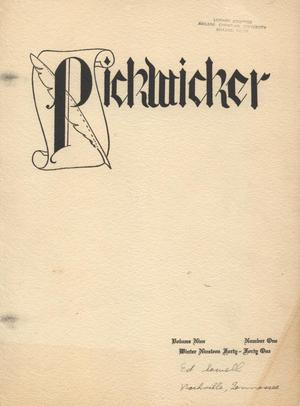 Primary view of object titled 'The Pickwicker, Volume 9, Number 1, Winter 1940-1941'.