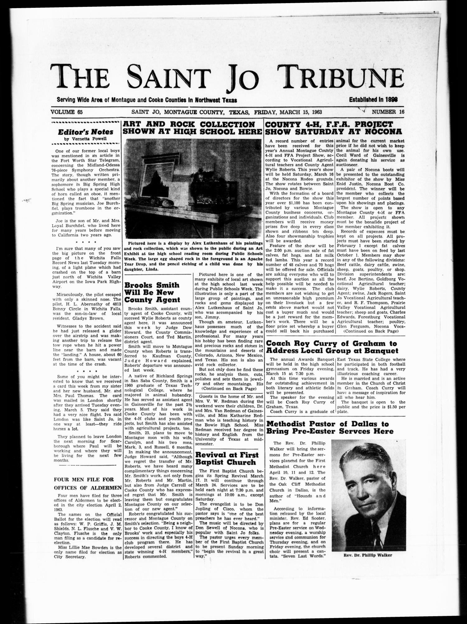 The Saint Jo Tribune (Saint Jo, Tex.), Vol. 65, No. 16, Ed. 1 Friday, March 15, 1963                                                                                                      [Sequence #]: 1 of 10