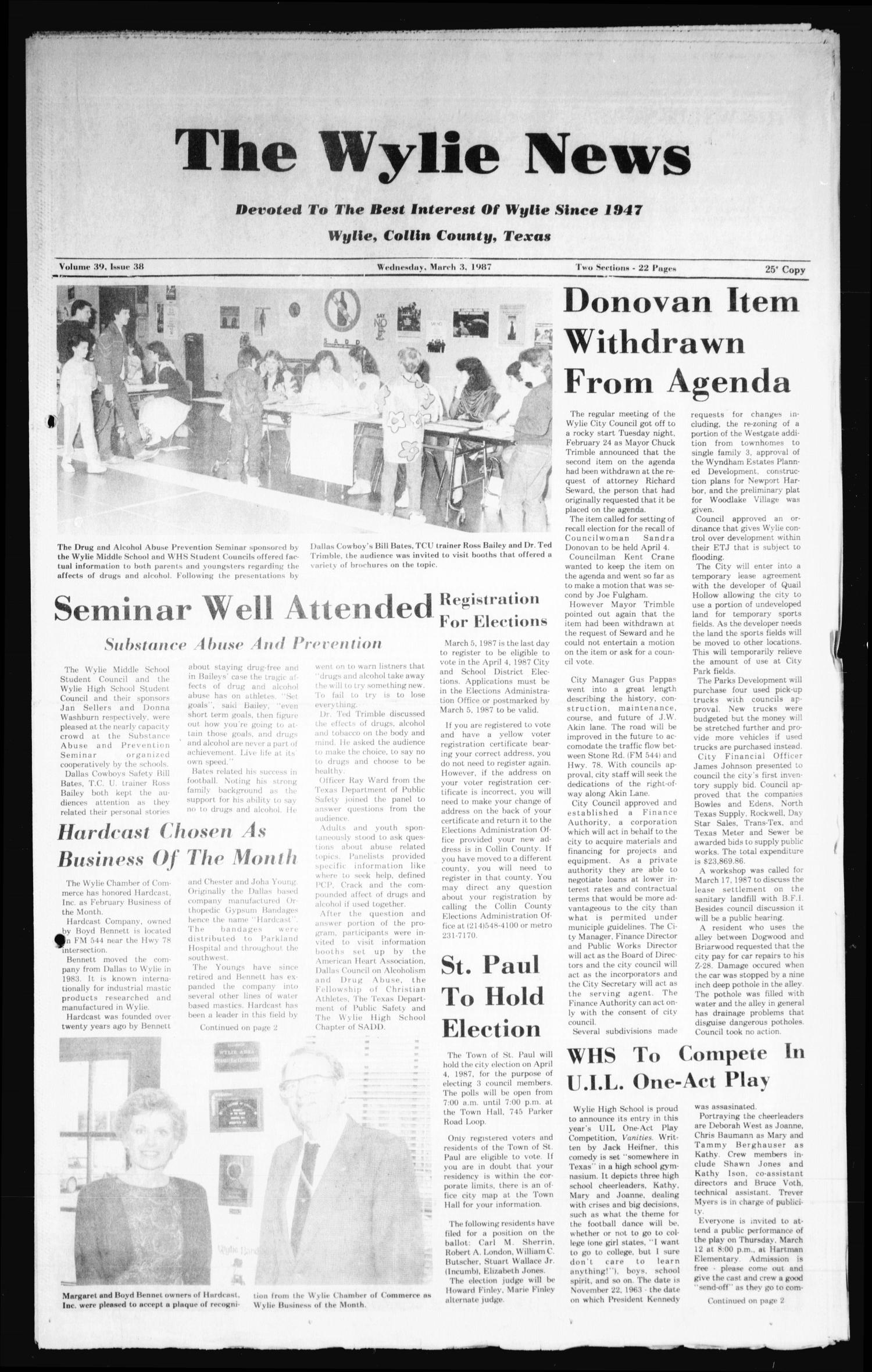 The Wylie News (Wylie, Tex.), Vol. 39, No. 38, Ed. 1 Wednesday, March 4, 1987                                                                                                      [Sequence #]: 1 of 22