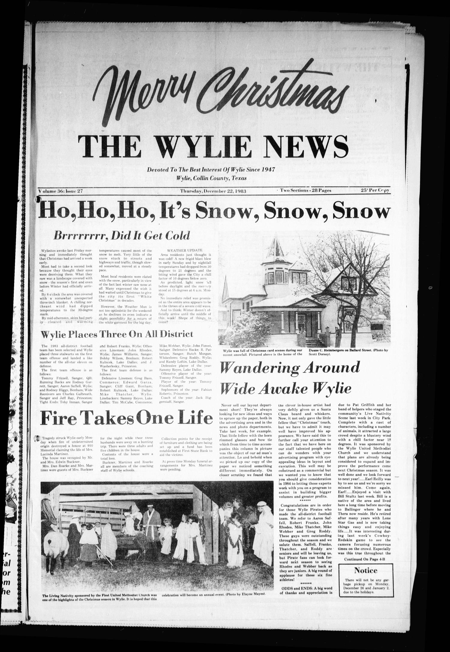 The Wylie News (Wylie, Tex.), Vol. 36, No. 27, Ed. 1 Thursday, December 22, 1983                                                                                                      [Sequence #]: 1 of 28
