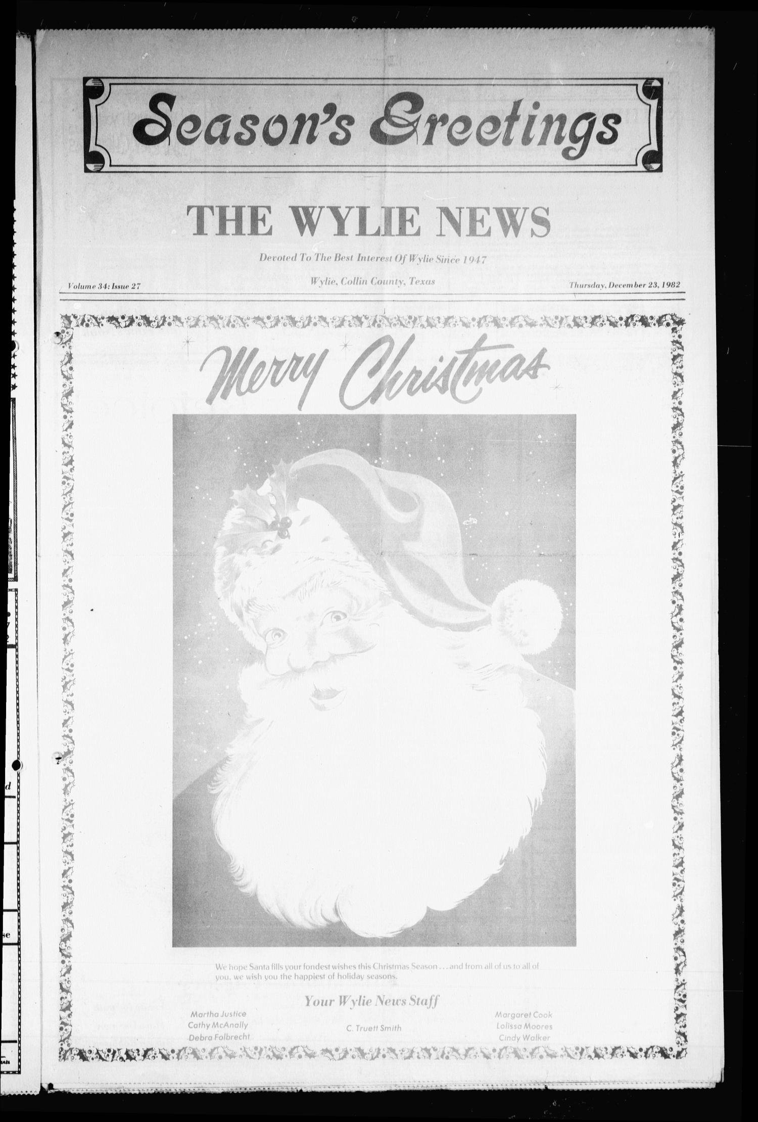 The Wylie News (Wylie, Tex.), Vol. 35, No. 27, Ed. 1 Thursday, December 23, 1982                                                                                                      [Sequence #]: 1 of 16