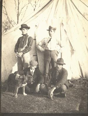Primary view of object titled 'Railroad Survey Crew Members Pose in Front of Tent, c. 1902'.