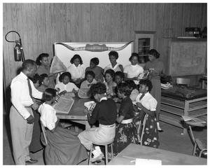 Primary view of object titled '[Anderson High School Girls Working on Sewing Projects]'.