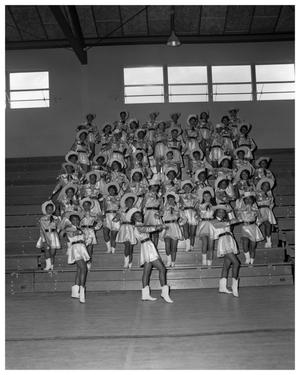 Primary view of object titled '[Anderson High School Cheerleaders Standing on Bleachers]'.
