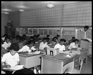 Primary view of object titled '[A Class of Students Sits During a Test]'.