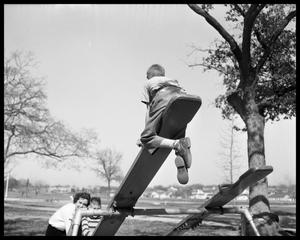 Primary view of object titled '[Austin State School -- students on playground]'.