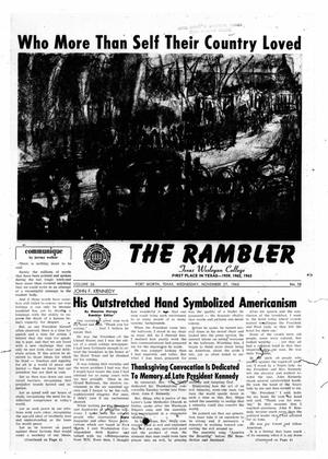 Primary view of object titled 'The Rambler (Fort Worth, Tex.), Vol. 36, No. 10, Ed. 1 Wednesday, November 27, 1963'.