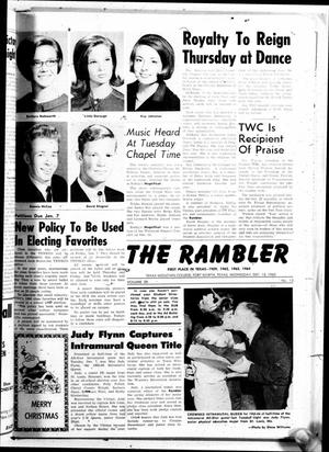 Primary view of object titled 'The Rambler (Fort Worth, Tex.), Vol. 39, No. 13, Ed. 1 Wednesday, December 15, 1965'.