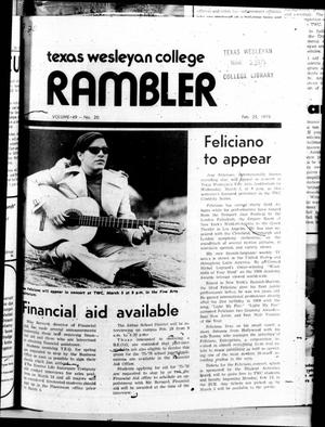 Primary view of object titled 'The Rambler (Fort Worth, Tex.), Vol. 49, No. 20, Ed. 1 Tuesday, February 25, 1975'.