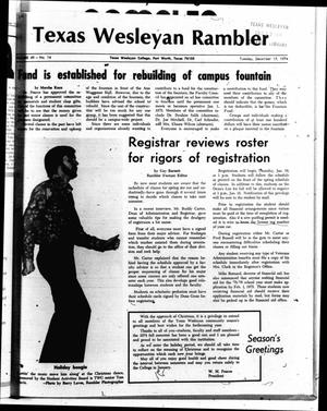 The Rambler (Fort Worth, Tex.), Vol. 49, No. 14, Ed. 1 Tuesday, December 17, 1974