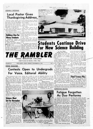 Primary view of object titled 'The Rambler (Fort Worth, Tex.), Vol. 35, No. 9, Ed. 1 Tuesday, November 20, 1962'.