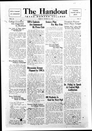 The Handout, Vol. 16, No. 17, Ed. 1 Friday, March 18, 1932