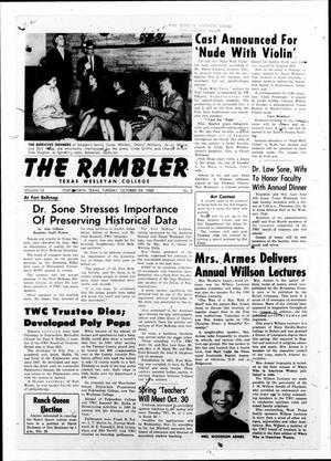 Primary view of object titled 'The Rambler (Fort Worth, Tex.), Vol. 35, No. 5, Ed. 1 Tuesday, October 23, 1962'.