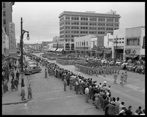 Primary view of object titled 'Armed Forces Day Parade down Congress Avenue'.