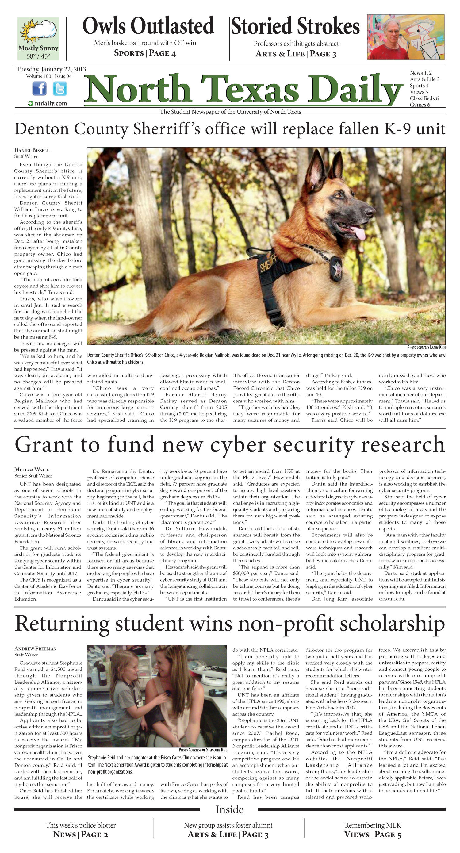 North Texas Daily (Denton, Tex.), Vol. 100, No. 04, Ed. 1 Tuesday, January 22, 2013                                                                                                      [Sequence #]: 1 of 6