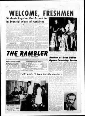 Primary view of object titled 'The Rambler (Fort Worth, Tex.), Vol. 35, No. 1, Ed. 1 Tuesday, September 25, 1962'.