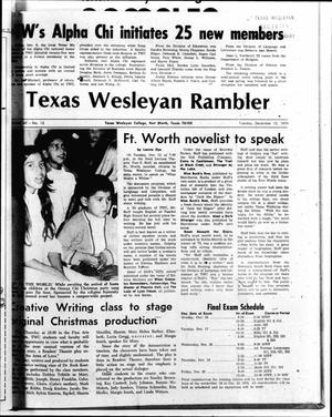 Primary view of object titled 'The Rambler (Fort Worth, Tex.), Vol. 49, No. 13, Ed. 1 Tuesday, December 10, 1974'.