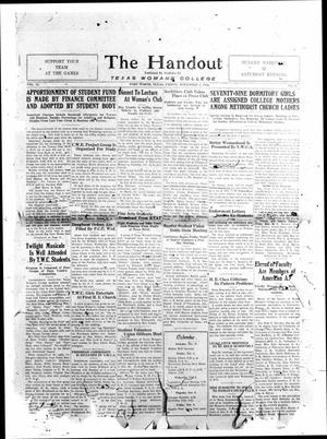 Primary view of object titled 'The Handout, Vol. 14, No. 6, Ed. 1 Friday, November 1, 1929'.